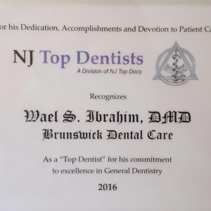 CONGRATULATIONS to Dr. IBRAHIM and the entire STAFF of BRUNSWICK DENTAL CARE on being AWARDED New Jersey TOP DENTIST for 2016!!! Looking forward to continuing to serve our patients with excellence